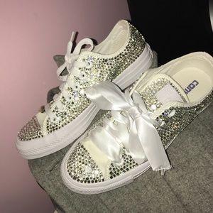 Custom full bling white converse